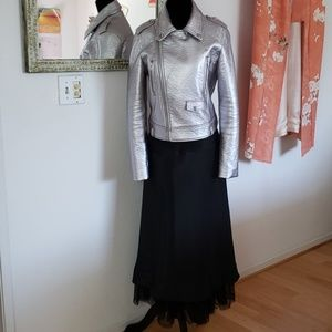 "Massimo long black skirt w/ laceup ""bustle"" size 8"